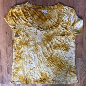 Yellow tie dye t-shirt with breast pocket!